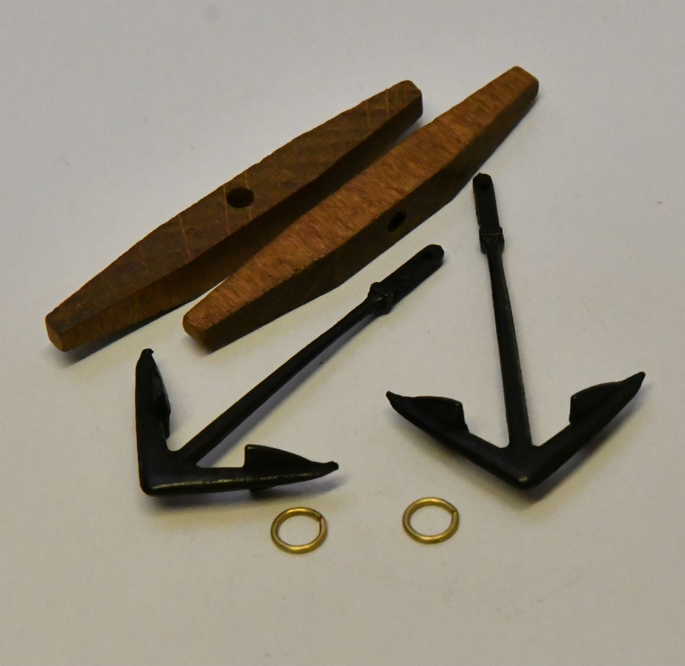 model boat ship fitting wood stock anchor 42560