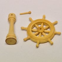 Scale traditional Model ship or boat wheel in wood with stand